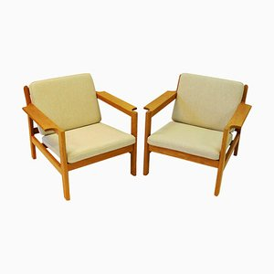 Teak Model 227 Armchairs by Børge Mogensen for Fredericia, 1960s, Set of 2