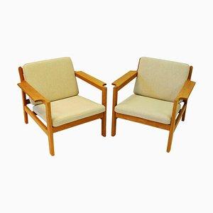 Teak Modell 227 Armlehnstühle von Børge Mogensen für Fredericia, 1960er, 2er Set