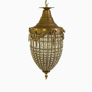Empire Style Chiseled Brass Friezes & Glass Drops Pinecone-Shaped Lantern, 1960s