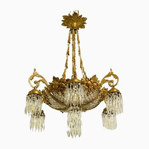 Empire Style Chandeliers in Brass and Crystal, 1960s, Set of 2