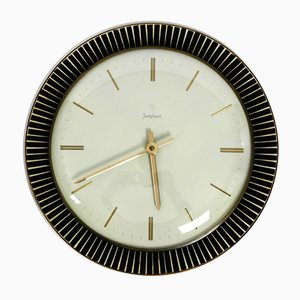 Ceramic and Brass Electric Wall Clock from Junghans, 1960s