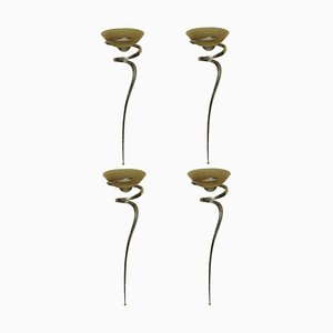 French Brass and Glass Sconces, 1950s, Set of 4
