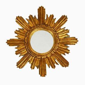 Goldener Mid-Century Sonnen Wandspiegel in Sonnen-Optik, 1950er