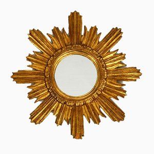 Mid-Century Golden Color Wooden Sunburst Wall Mirror, 1950s