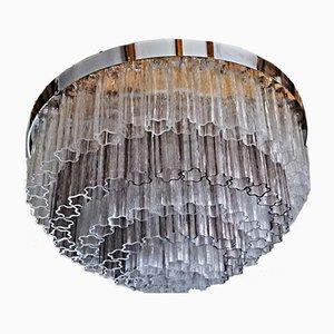 Lámpara de araña Tronchi Mid-Century de cristal de Murano claro y vidrio amatista de Kalmar