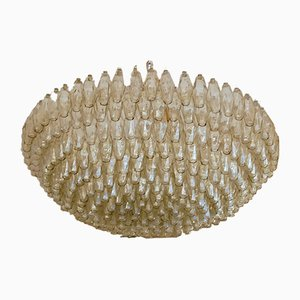Mid-Century Taupe Glass Poliedri Murano Chandelier with 346 Elements