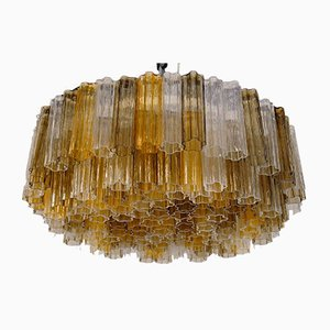 Lámpara de araña Tronchi Mid-Century de dos pisos de cristal de Murano de Kalmar, años 80