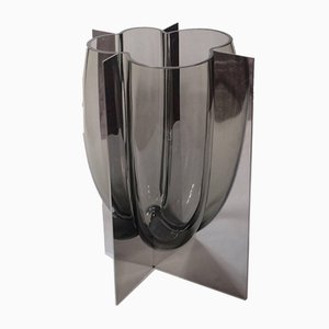 Vintage Vase in Stainless Steel and Gray Acciaio by Carlo Nason