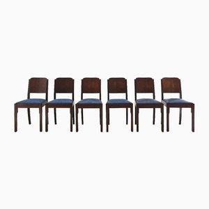Art Deco Esszimmerstühle mit Blauem Sitz, 6er Set
