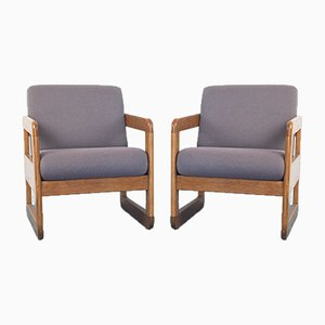 Vintage Wood & Fabric Lounge Chairs from Thonet, 1990s, Set of 2