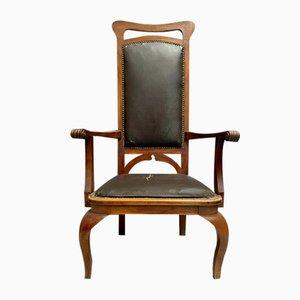 Antique Art Nouveau Armchair in Light Walnut