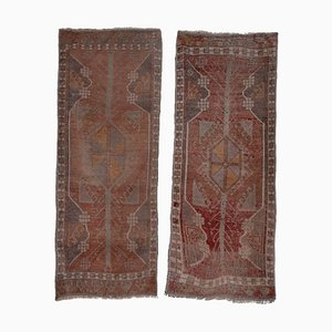 Vintage Turkish Distressed Oushak Rugs, 1970s, Set of 2