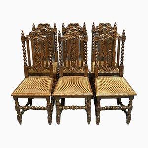 Sedie da pranzo in legno di quercia massiccio, set di 6