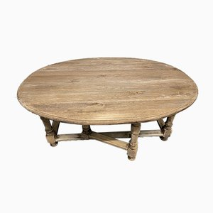 Bleached Oak Oval Coffee Table with Flaps