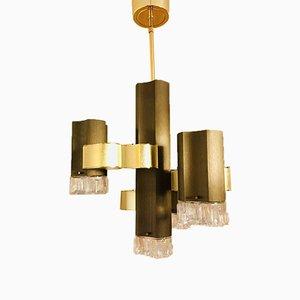 Italienische Glas und Aluminium Deckenlampe von Gaetano Sciolari für Sciolari, 1970er