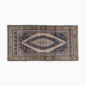 Vintage Turkish Hand-Knotted Blue and Tan Taspinar Decor Rug, 1970s
