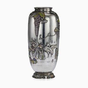 Antike japanische Vase aus massivem Silber & Emaille von Sanju Saku, 1900er