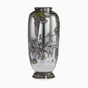 Antique Japanese Solid Silver and Enamel Vase from Sanju Saku, 1900s