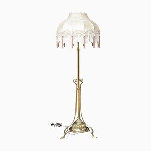 Lampada vittoriana in ottone, altezza regolabile