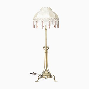 Lámpara estándar victoriana tardía, latón, altura regulable