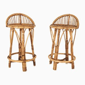 Vintage Spanish Cane Stools, Set of 2