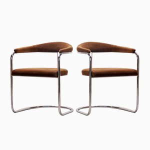 Brown Velvet S37 Cantilever Chairs by Anton Lorenz for Thonet, 1970s, Set of 4