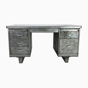 Vintage Industrial Steel Double Pedestal Desk, 1960s