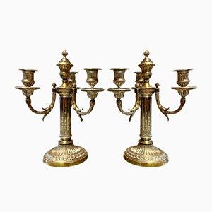 Candelabros de bronce con cuatro brazos. Juego de 2