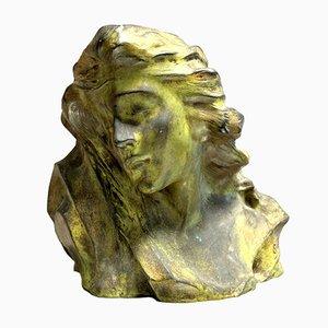 Antique Bronze The Pensive Woman Sculpture by Enzo Sighieri