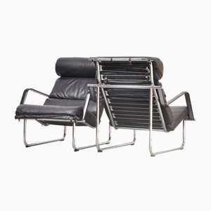 Vintage Chromed Tubular Steel Frame & Black Leather Remmi Lounge Chairs by Yrjo Kukkapuro for Avarte, Set of 2