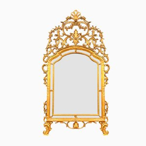 Large Antique Louis XV Wood Mirror in Golden Patina