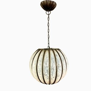 Gadrooned Glass & Hammered Iron Mesh Chandelier, 1920s