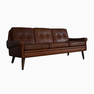 Cognacfarbenes dänisches Vintage 3-Sitzer Sofa von Svend Skipper für Skipper, 1960er