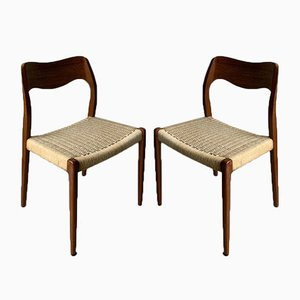 Teak Model 71 Dining Chairs by Niels Otto Møller for J.L. Møllers, 1950s, Set of 2