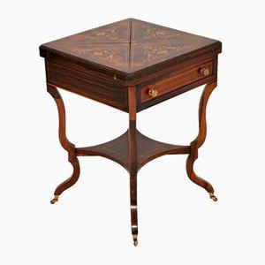 Antiker Viktorianischer Kartentisch mit Einstecktisch aus Palisander mit Einlegearbeit
