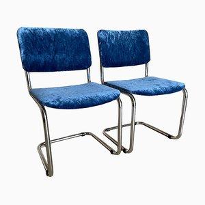 Blaue Vintage Samtsessel, 2er Set