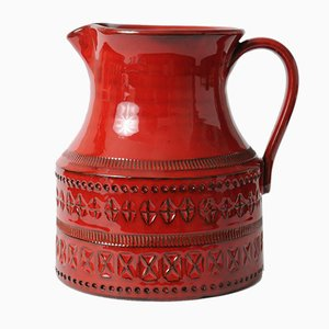 Vintage Rimini Red Ceramic Jug by Aldo Londi for Bitossi, 1970s