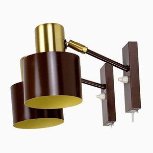 Lámparas de pared danesas en marrón de Jo Hammerborg para Fog & Mørup, años 60. Juego de 2