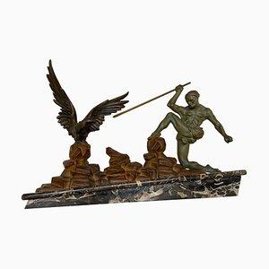 Escultura de arquero Art Déco vintage con base de mármol