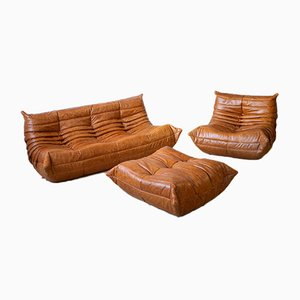 Vintage Pine and Leather Togo Living Room Set by Michel Ducaroy for Ligne Roset, Set of 3