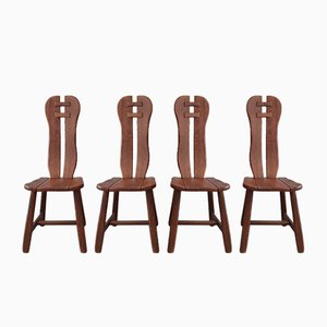 Belgian Brutalist Dining Chairs from De Puyt, Set of 4