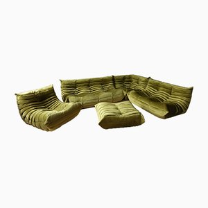 Green Velvet Togo Living Room Set by Michel Ducaroy for Ligne Roset, 1979