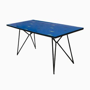 Italian Mid-Century Black Metal Rod and Blue Glass Table, 1950s