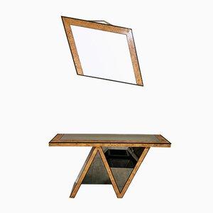 Mid-Century Italian Briarwood, Dark Mirrored Glass & Brass Mirror & Console Table, 1970s, Set of 2