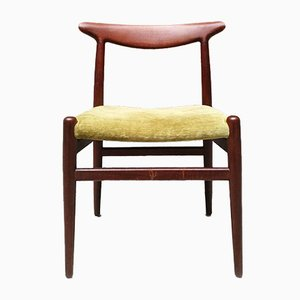Danish Solid Teak and Velvet Dining Chairs by Hans J. Wegner for Madsens, 1950s, Set of 6