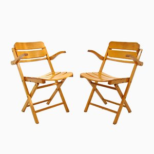 Wooden Folding Chairs, 1970s, Set of 2