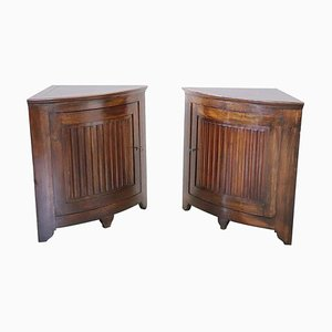 Antique Solid Walnut Corner Cabinets, 1780s, Set of 2