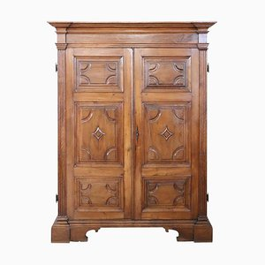 Large Antique Wardrobe in Solid Walnut, 1720s