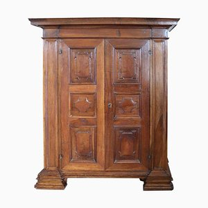 Large Antique Wardrobe in Solid Walnut, 1630s