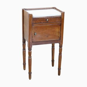 Antique Italian Cherry Wood Nightstand with Marble Top, 1825s